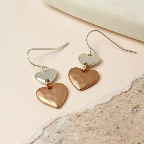 DOUBLE DROP 2 TONE HEART EARRINGS